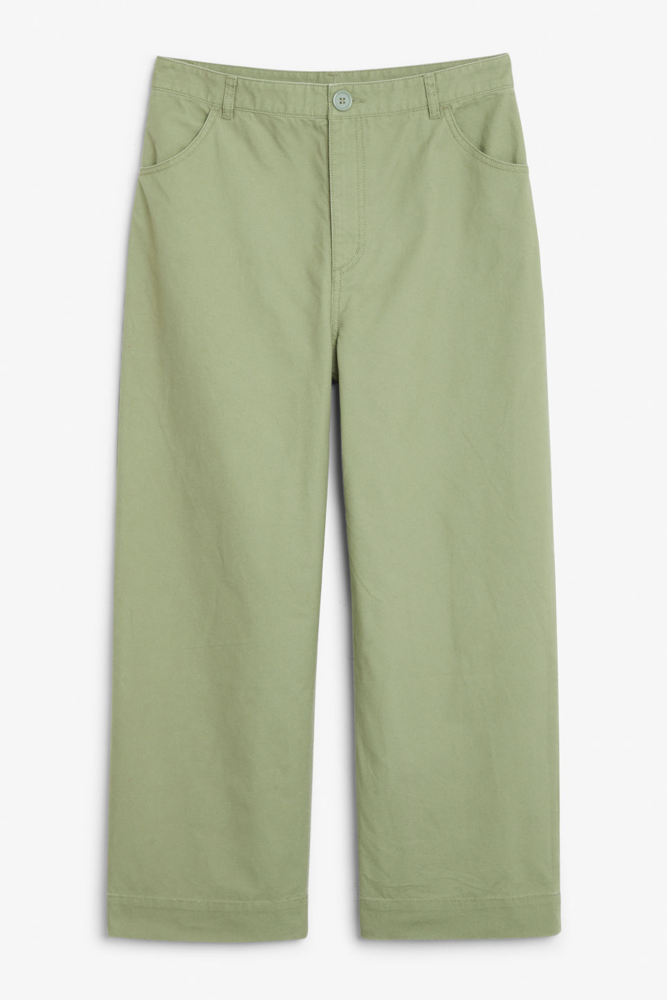 Front image of Monki wide trousers in green