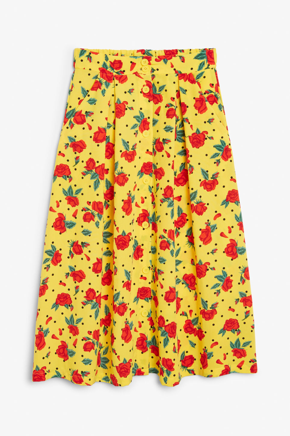 Front image of Monki midi skirt in yellow