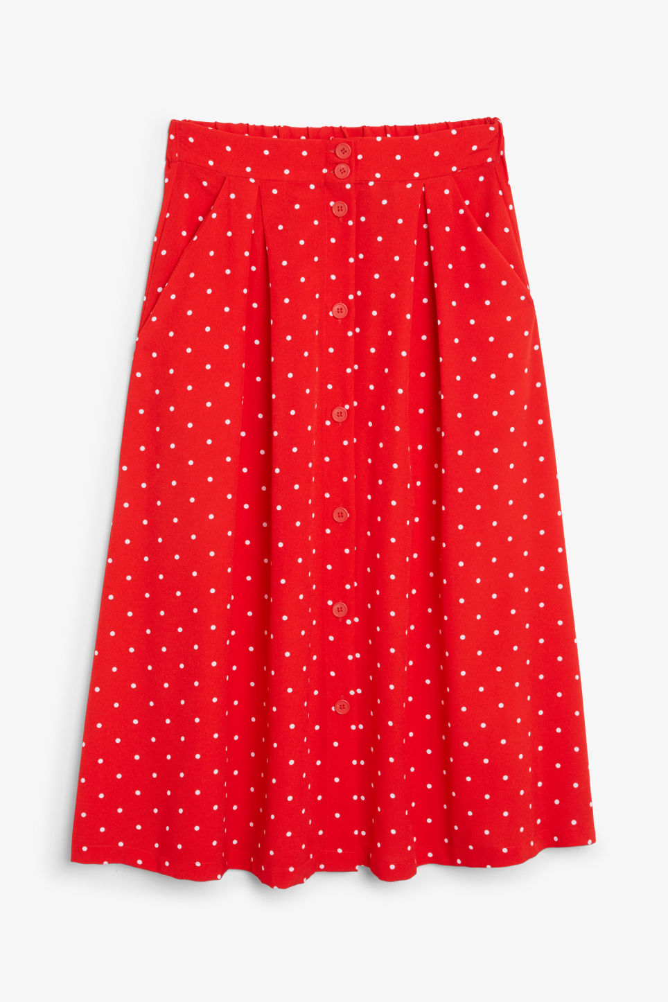 Front image of Monki midi skirt in red