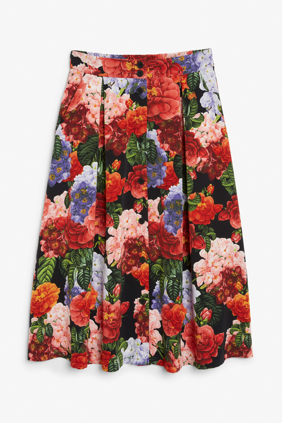 Front image of Monki midi skirt in black