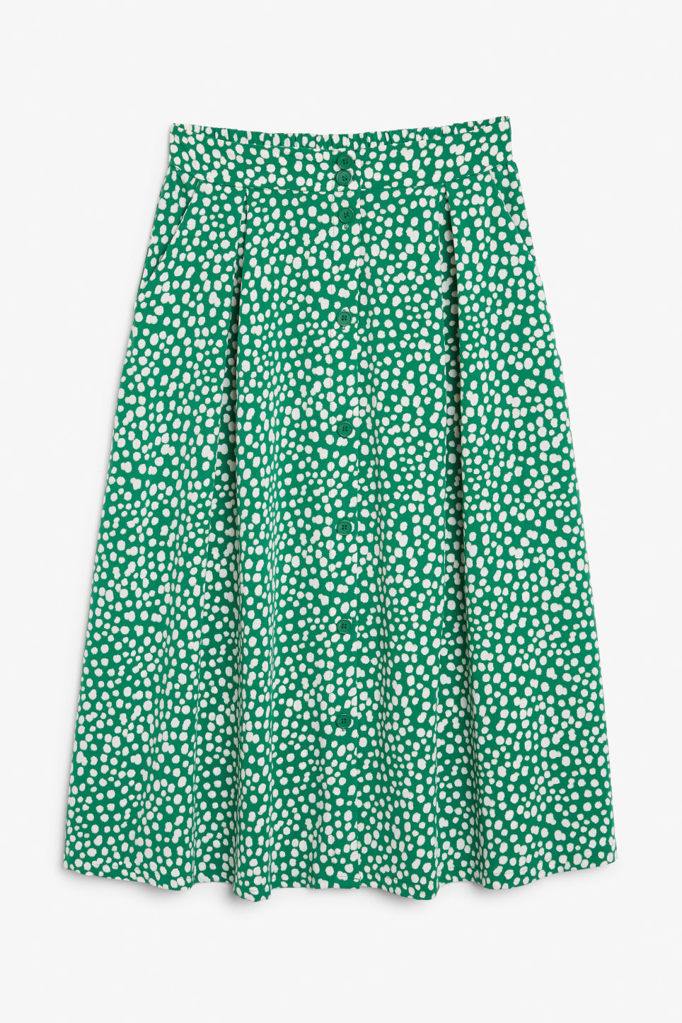 Front image of Monki midi skirt in green
