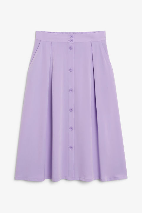 Front image of Monki pleated midi skirt in purple