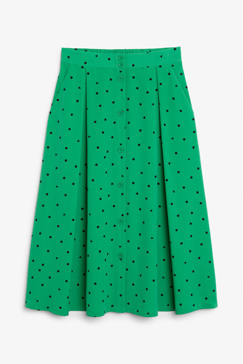 Front image of Monki pleated midi skirt in green
