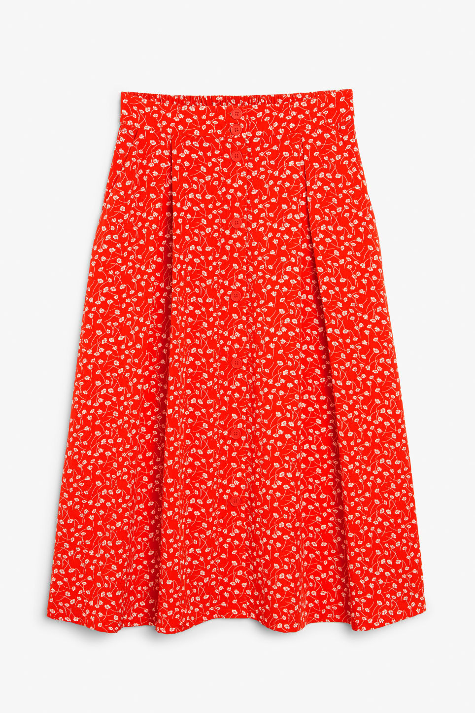 Front image of Monki pleated midi skirt in red
