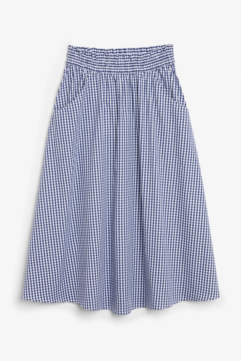 Front image of Monki midi skirt in blue