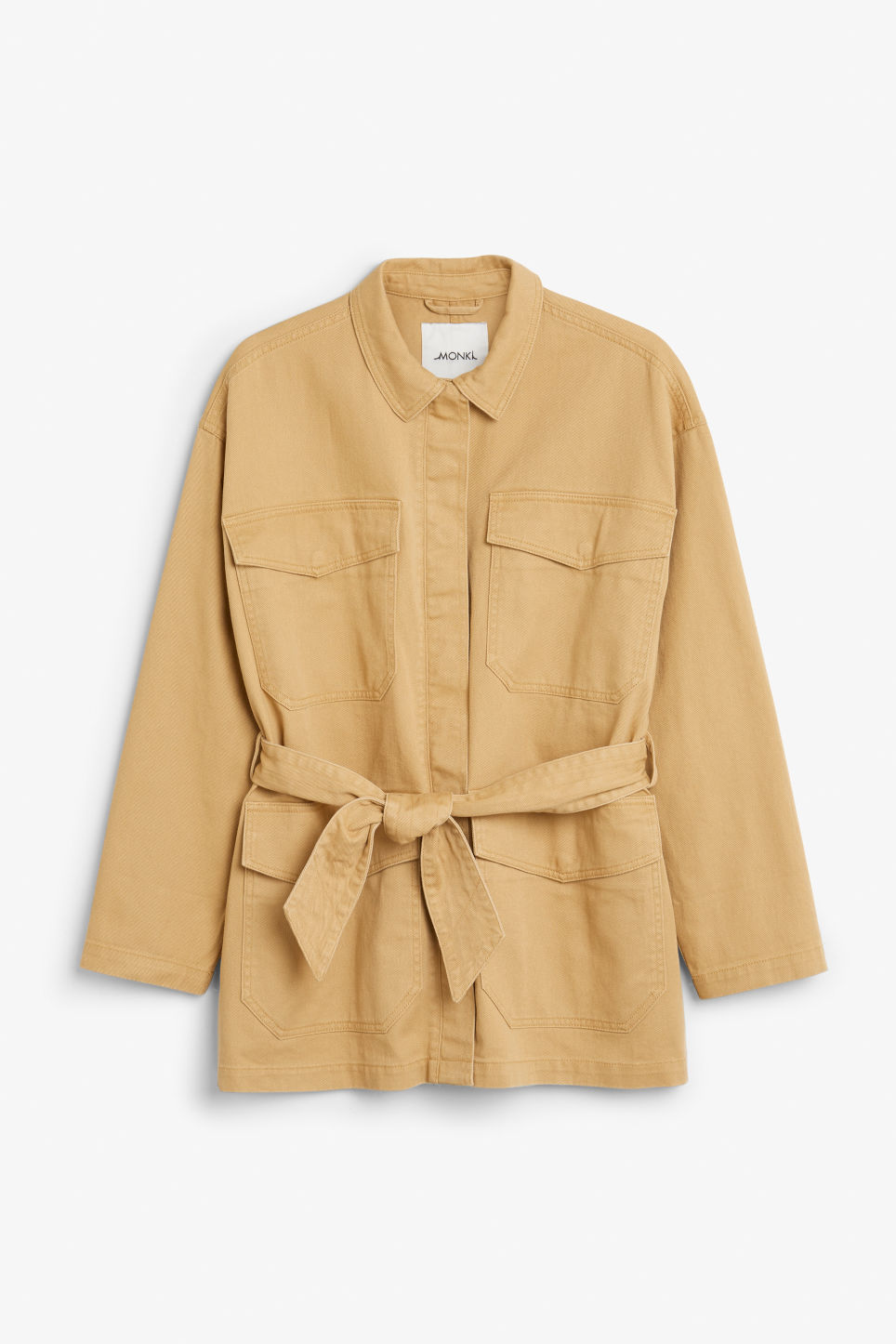 Front image of Monki utility jacket in yellow