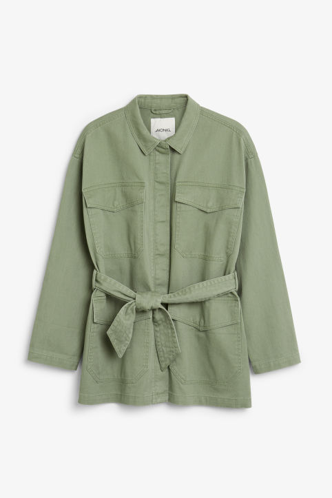Front image of Monki utility jacket in green