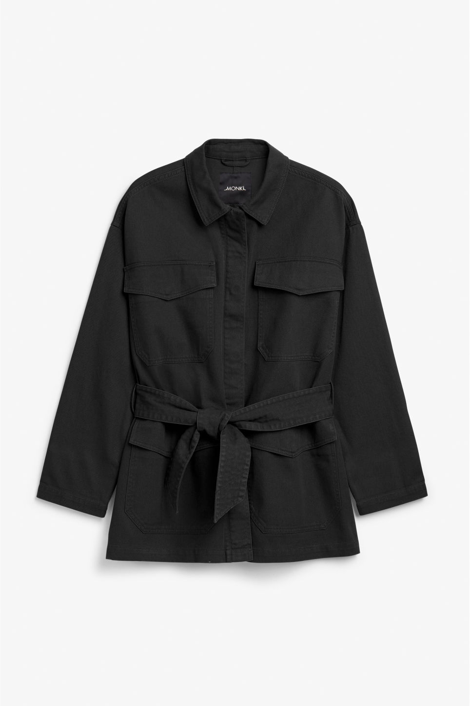 Front image of Monki utility jacket in black