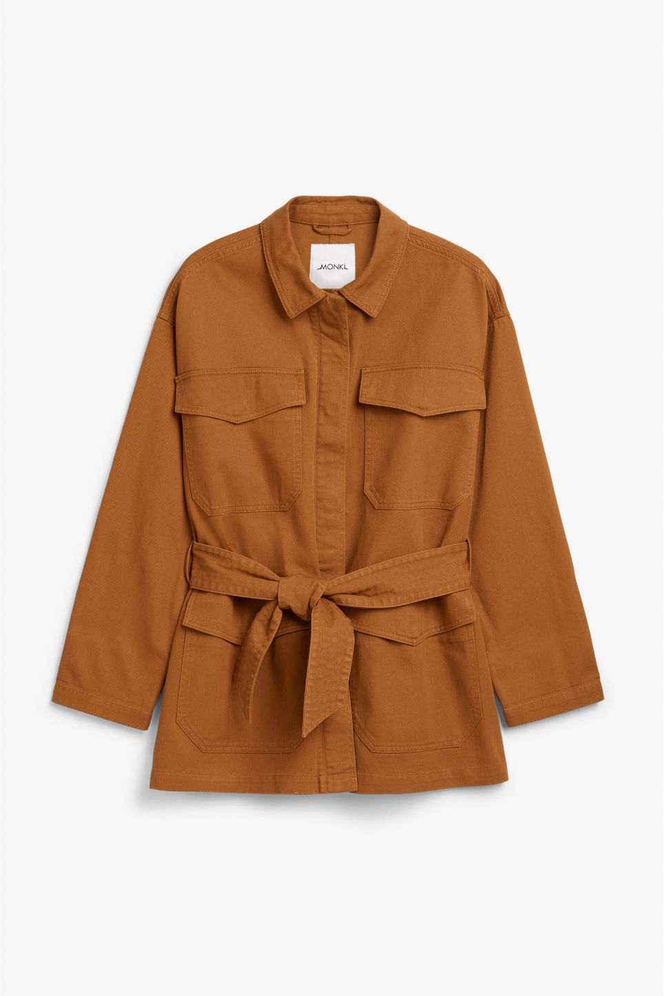 Front image of Monki utility jacket in orange