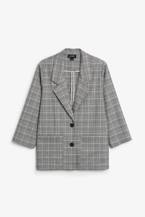 Front image of Monki long blazer  in pink