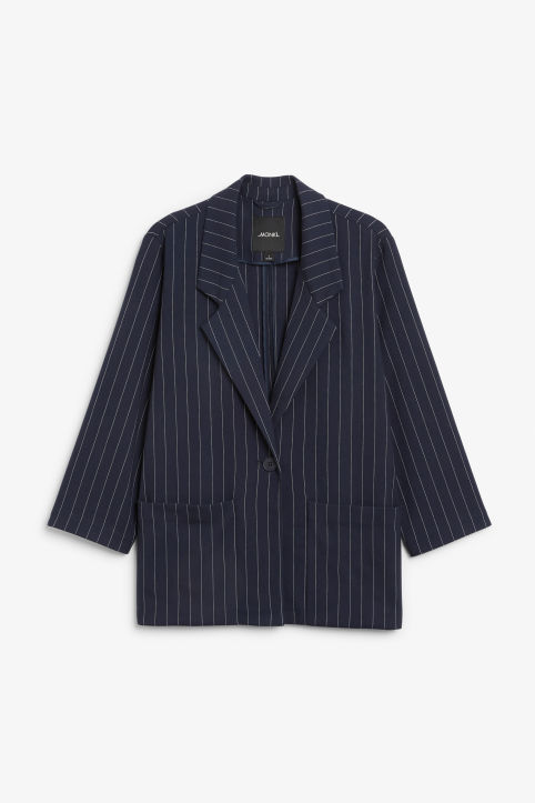 Front image of Monki long blazer  in blue