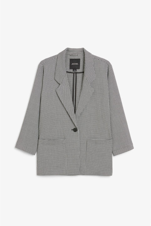 Front image of Monki long blazer  in white