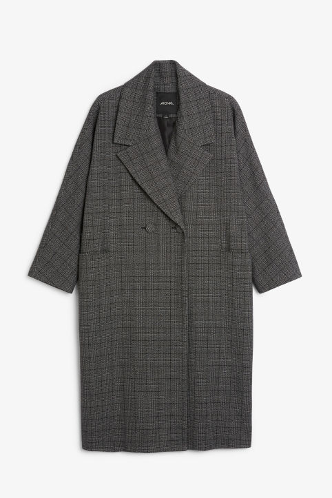 Front image of Monki double-breasted coat in grey