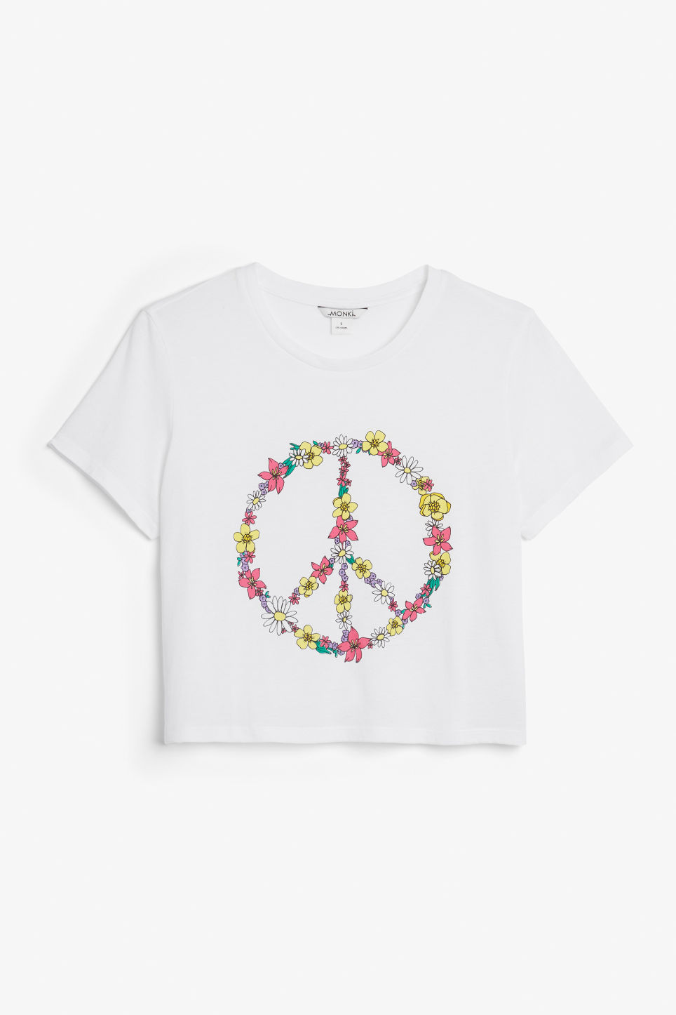 Front image of Monki cropped tee in white