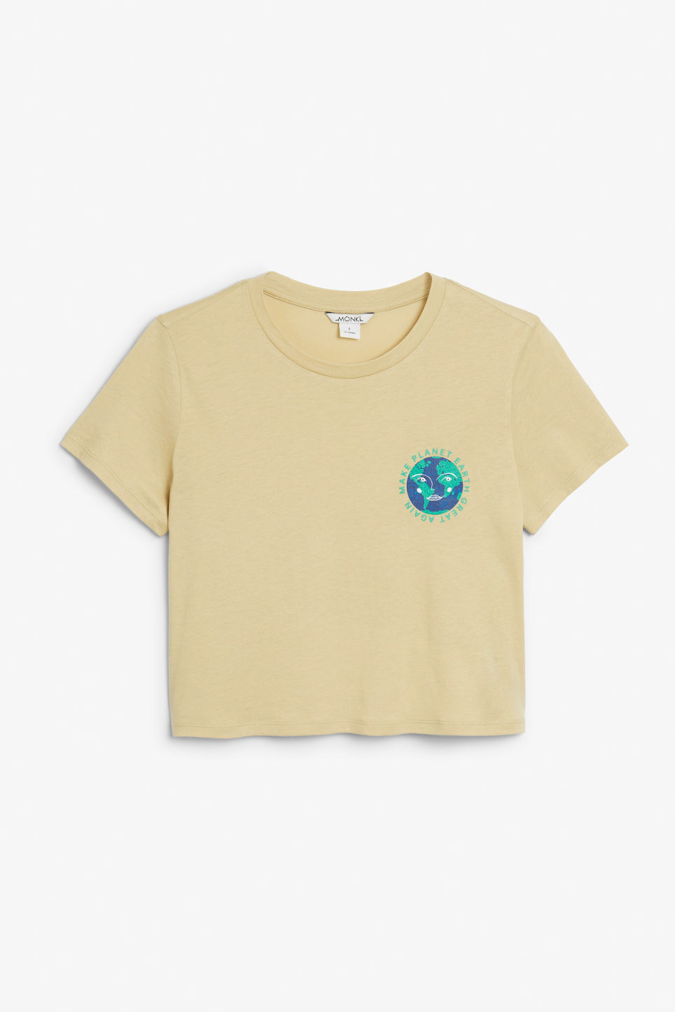 Front image of Monki cropped tee in beige