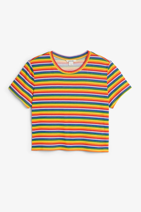 Front image of Monki cropped tee in red