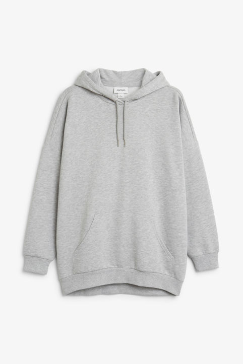 Front image of Monki oversized hoodie in grey