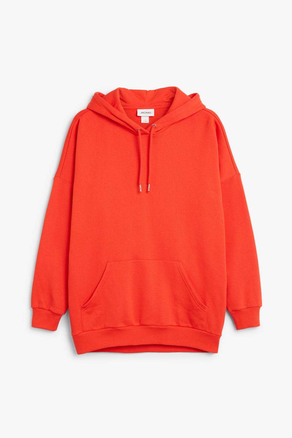 Front image of Monki oversized hoodie in red