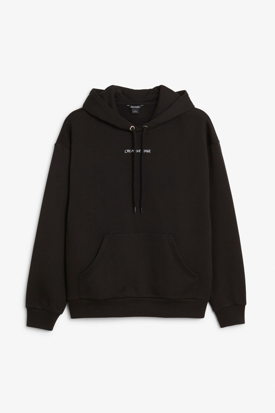 Front image of Monki classic hoodie in black