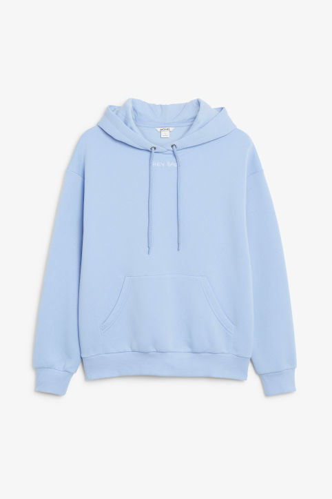 Front image of Monki classic hoodie in blue