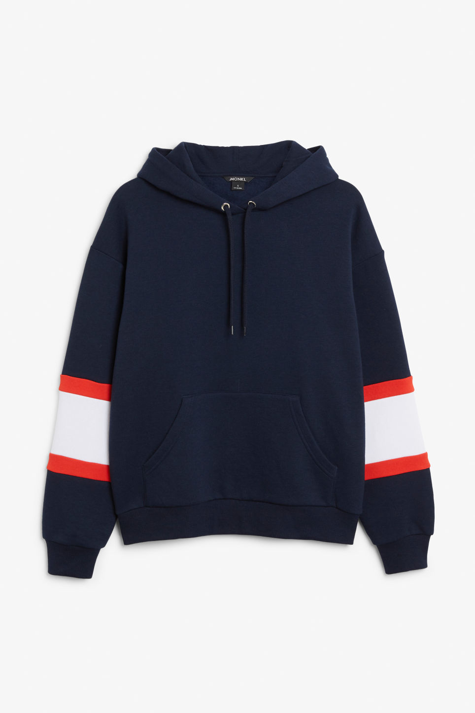 Front image of Monki soft drawstring hoodie in blue