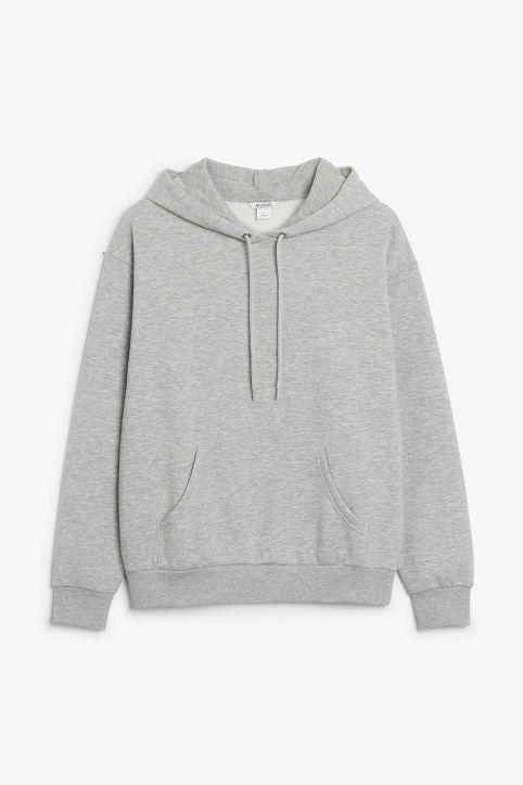 Front image of Monki soft drawstring hoodie in grey