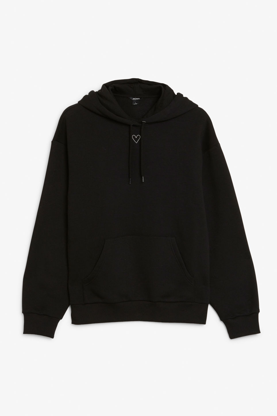 Front image of Monki soft drawstring hoodie in black