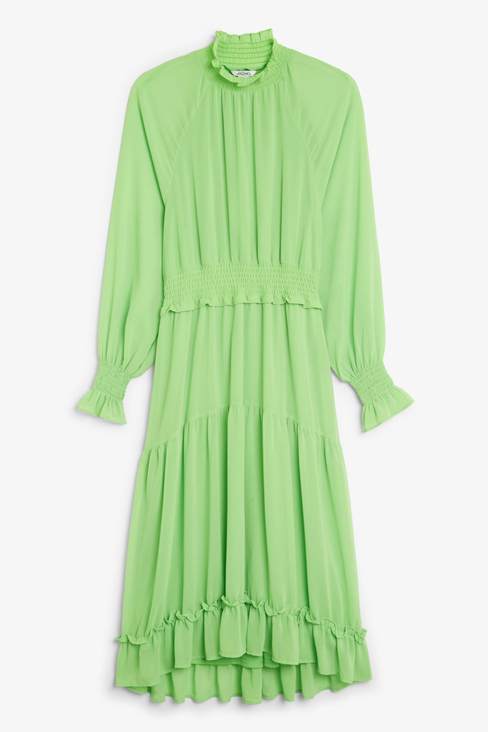 Front image of Monki ruffle hem maxi dress in green