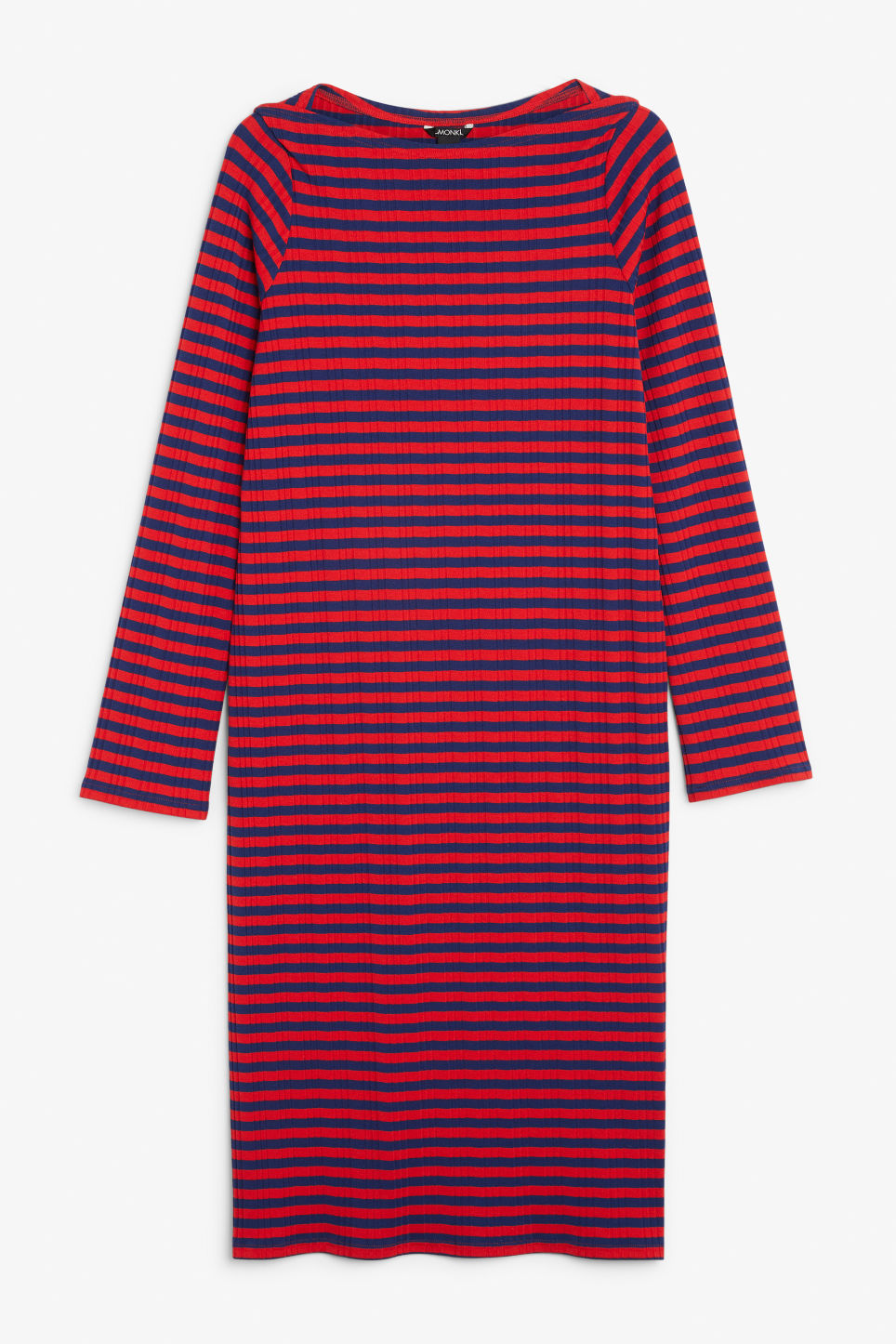 Front image of Monki ribbed long-sleeved dress in red
