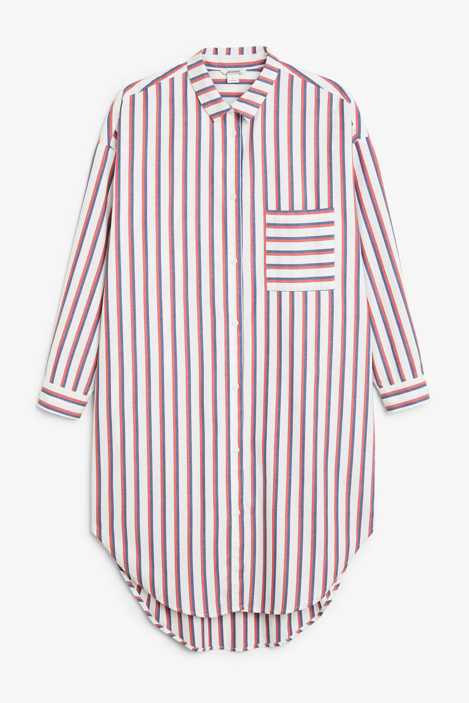 Front image of Monki oversized shirt dress in red