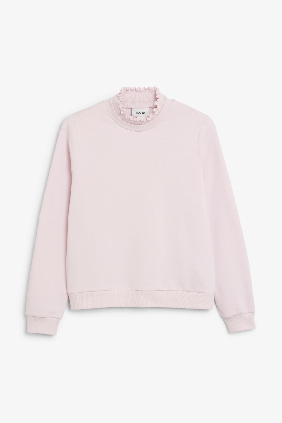 Front image of Monki ruffled neck sweater in pink