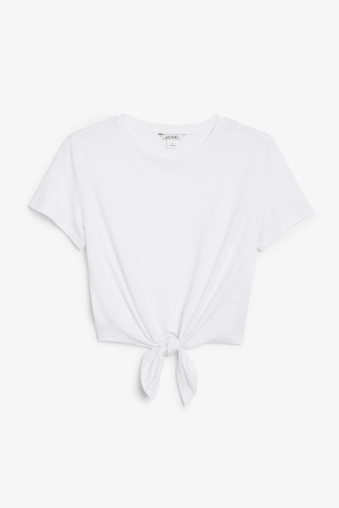 Front image of Monki tie front tee in white