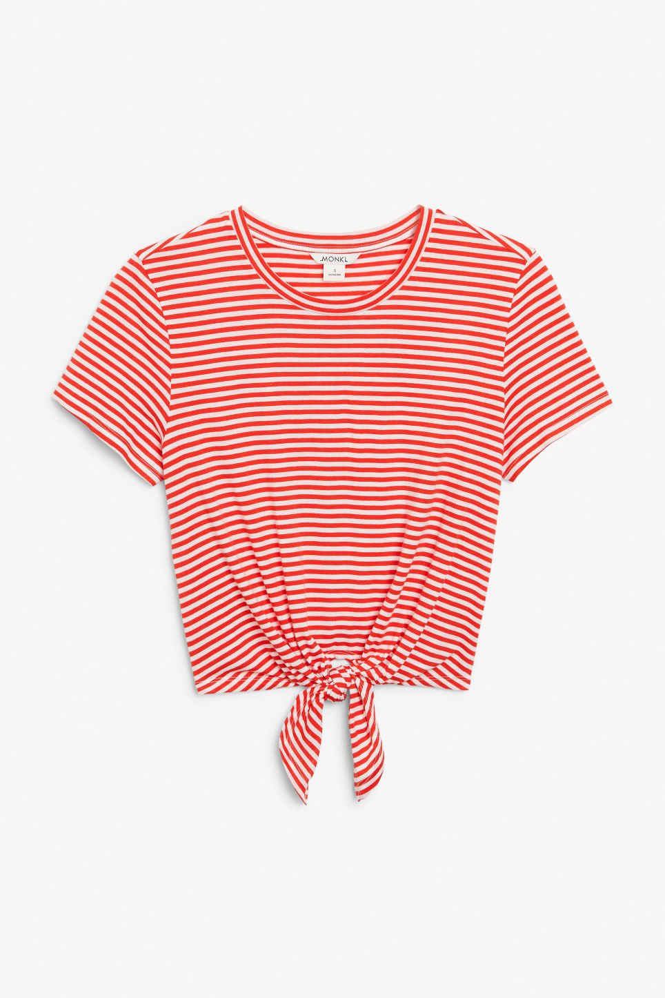 Front image of Monki tie front tee in red