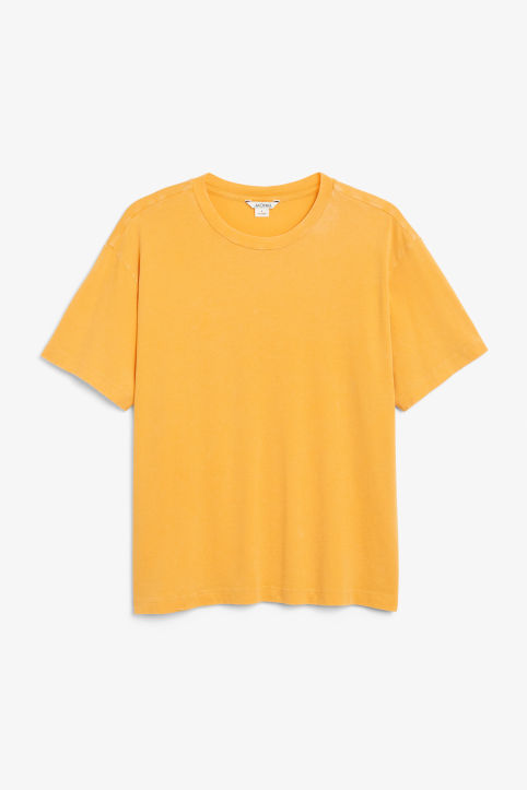 Front image of Monki oversized tee in yellow