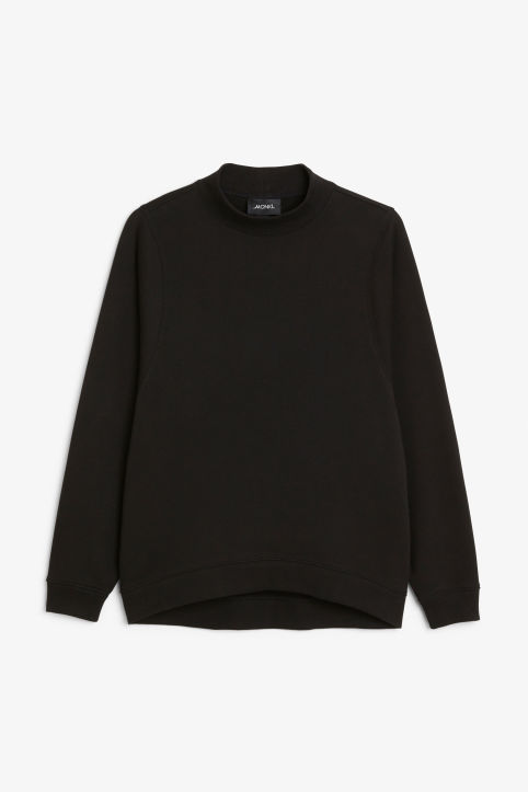 Front image of Monki oversized sweater in black