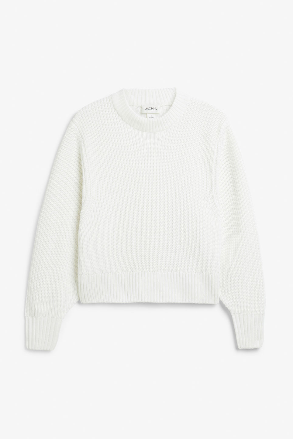 Front image of Monki puffed sleeve sweater in white