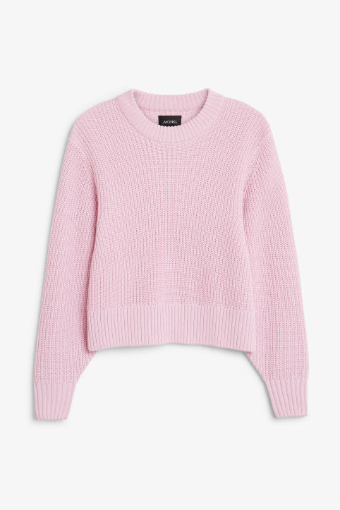 Front image of Monki puffed sleeve sweater in pink