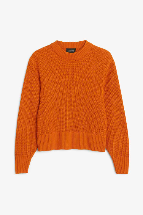 Front image of Monki puffed sleeve sweater in orange