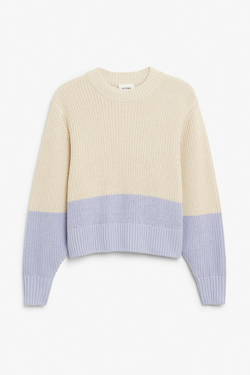 Front image of Monki puffed sleeve sweater in beige
