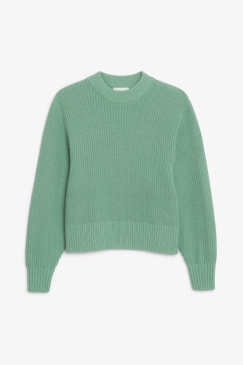Front image of Monki puffed sleeve sweater in green