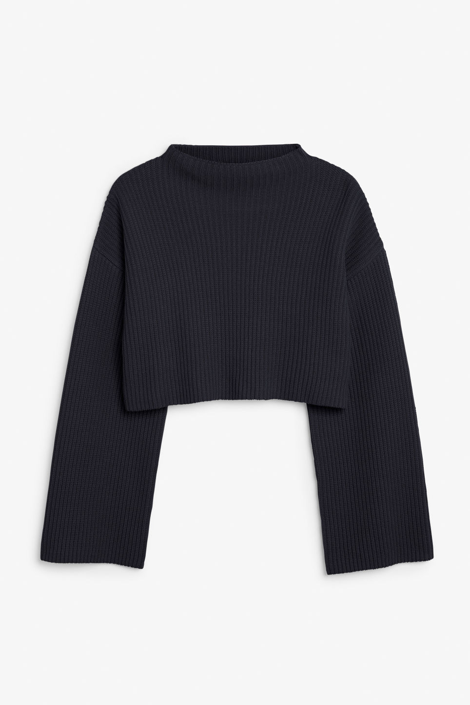 Front image of Monki cropped knit sweater in blue