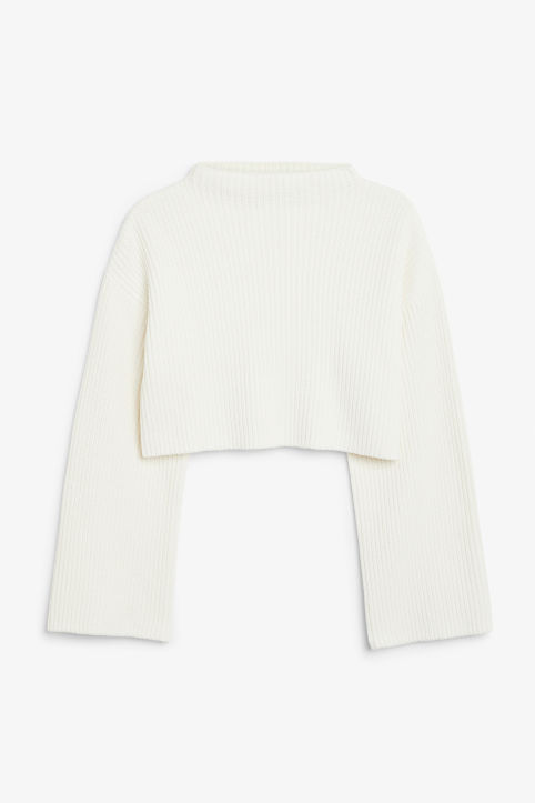 Front image of Monki cropped knit sweater in white