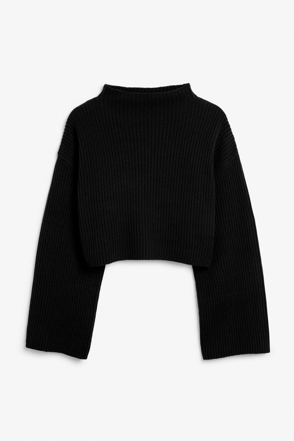 Front image of Monki cropped knit sweater in black