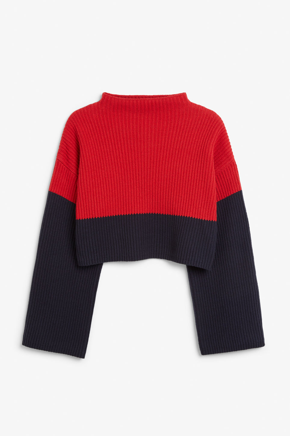 Front image of Monki cropped knit sweater in red