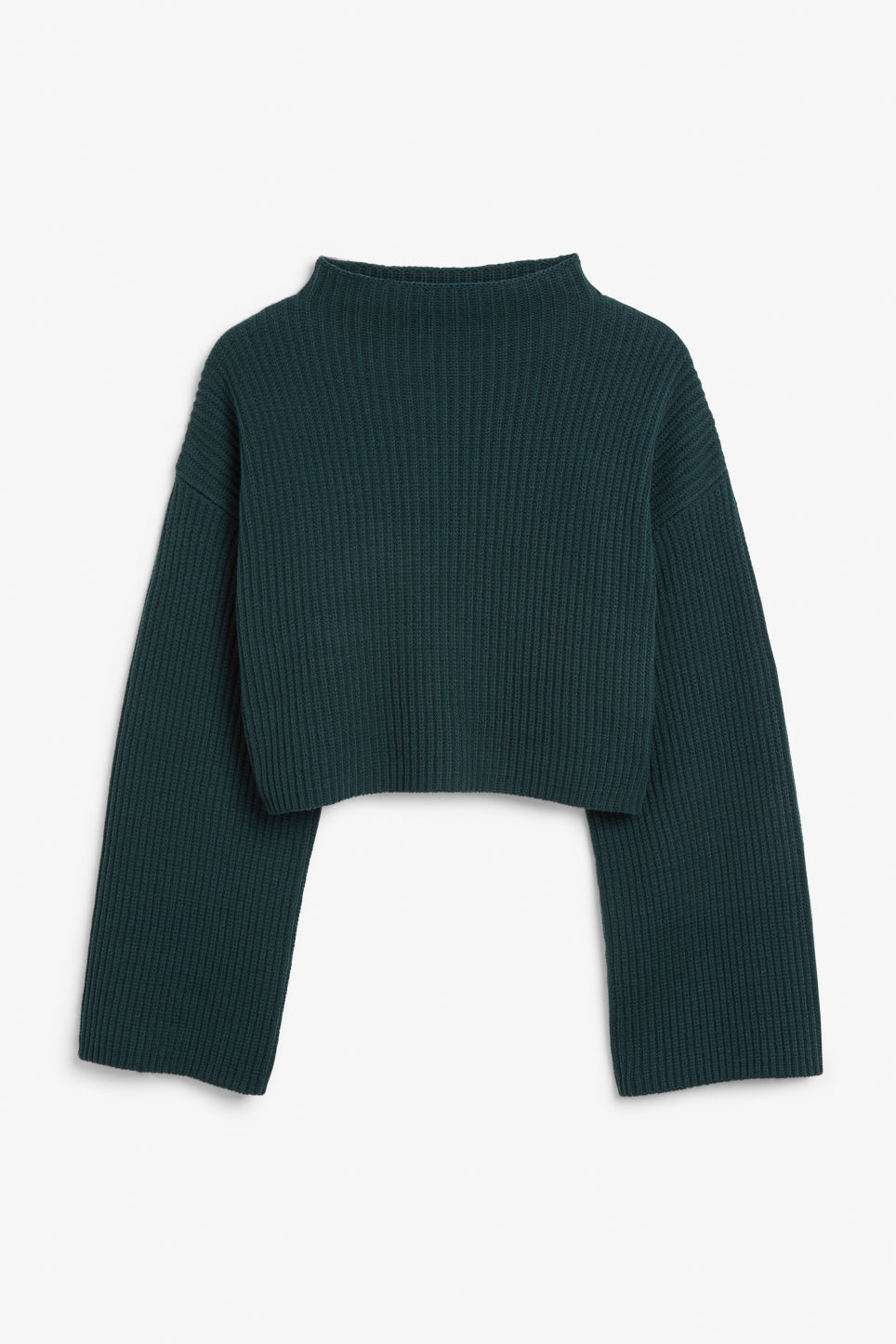 Front image of Monki cropped knit sweater in green