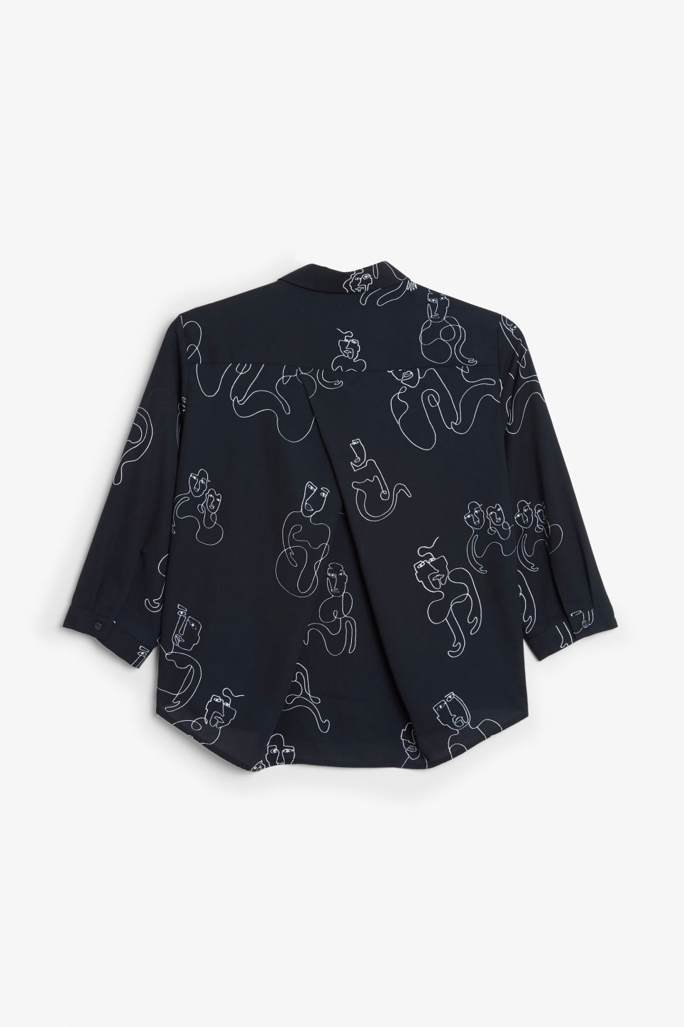 Back image of Monki button up blouse in blue