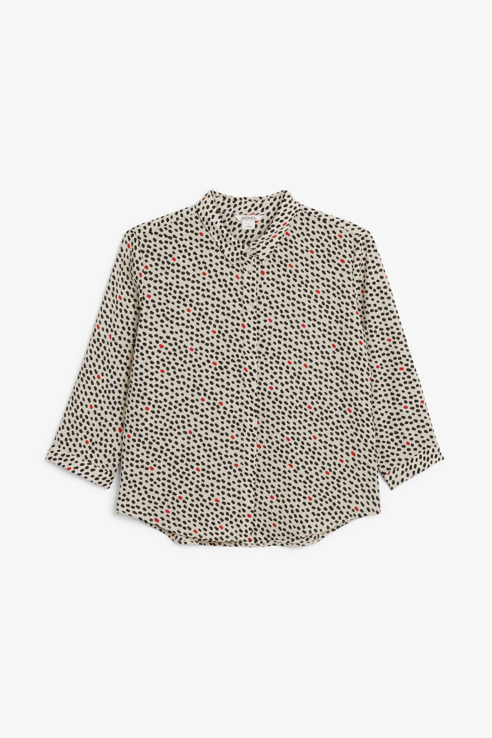 Front image of Monki flowy pleat back blouse in beige