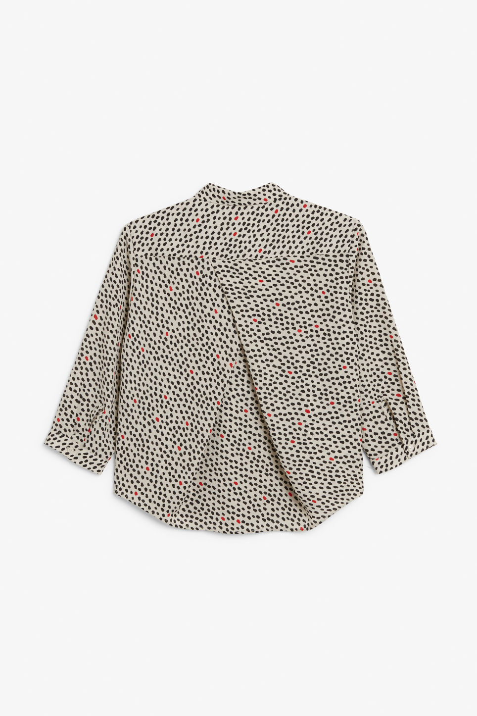 Back image of Monki flowy pleat back blouse in beige