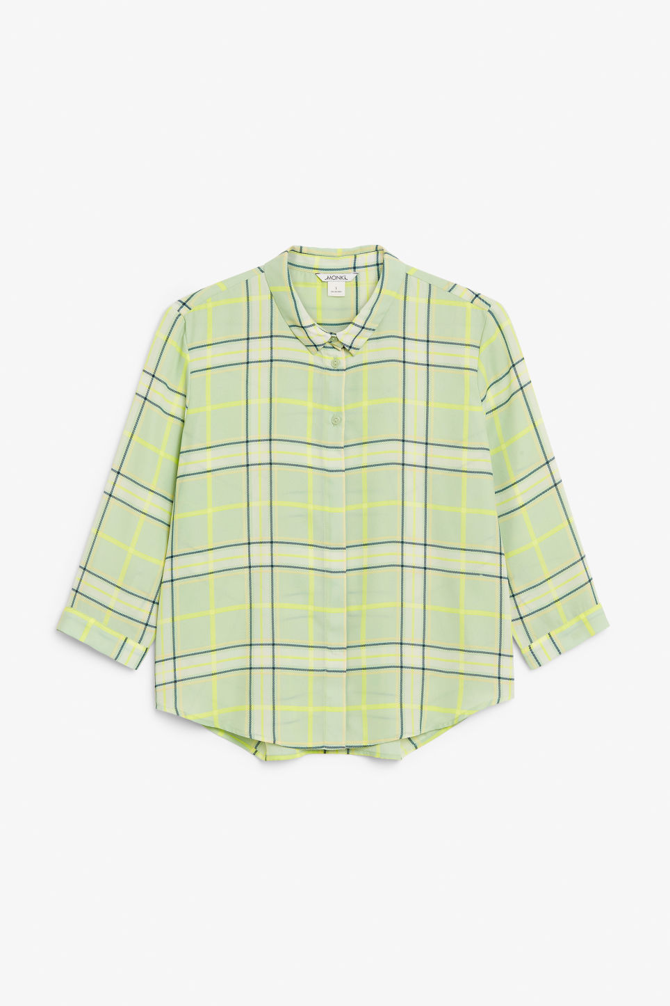 Front image of Monki flowy pleat back blouse in green
