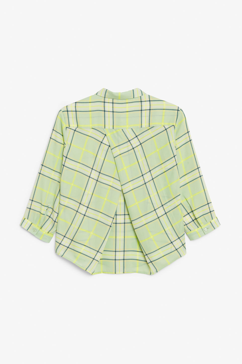 Back image of Monki flowy pleat back blouse in green